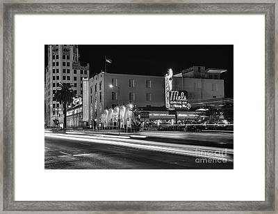 Mel's Drive-in Black And White Framed Print by Eddie Yerkish