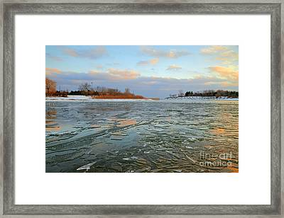 Melting Ice At Dusk Framed Print by Charline Xia