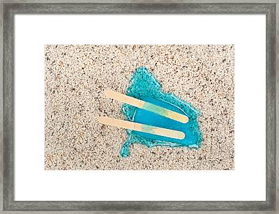 Melting Popsicle On Carpet. Framed Print