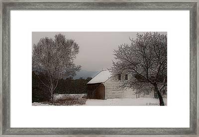 Melvin Village Barn In Winter Framed Print