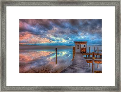 Melvin Village Marina In The Fog Framed Print