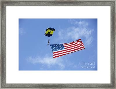 Member Of The U.s. Navy Parachute Team Framed Print