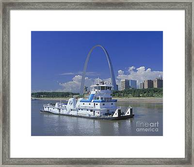 Memco Towboat In St Louis Framed Print by Garry McMichael