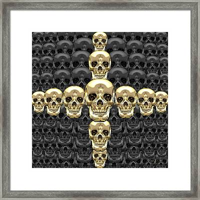 Memento Mori - Cross Of Gold Human Skulls On Black Framed Print by Serge Averbukh