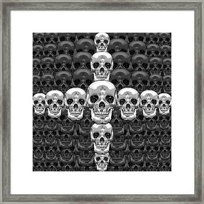 Memento Mori - Cross Of Silver Human Skull On Black  Framed Print by Serge Averbukh