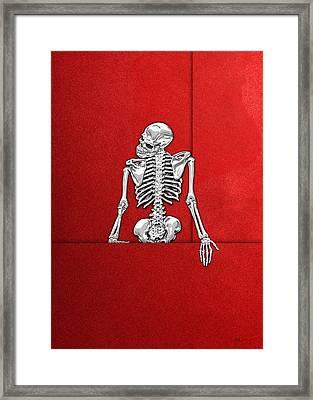 Memento Mori - Silver Human Skeleton On Red Canvas Framed Print by Serge Averbukh