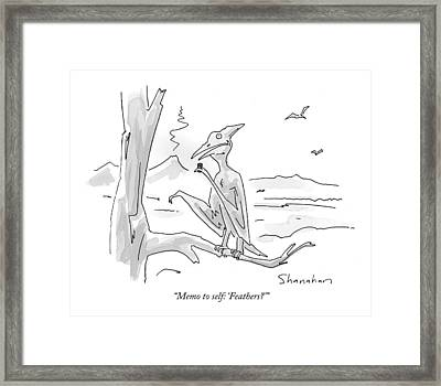 Memo To Self: 'feathers?' Framed Print by Danny Shanahan