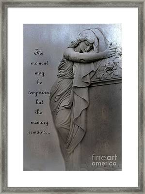 Memorial Art Statue - Haunting Cemetery Statue Inspirational Art Framed Print by Kathy Fornal