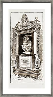 Memorial Bust And Tablet In Hempstead Church Of Dr Framed Print