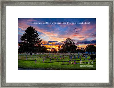 Memorial Day Remembrance Framed Print by Robert Bales