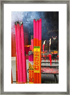 Memorial Incenses, Mingshan, Fengdu Framed Print