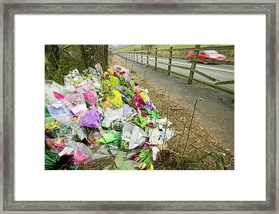 Memorial Of A Car Crash Victim Framed Print by Ashley Cooper
