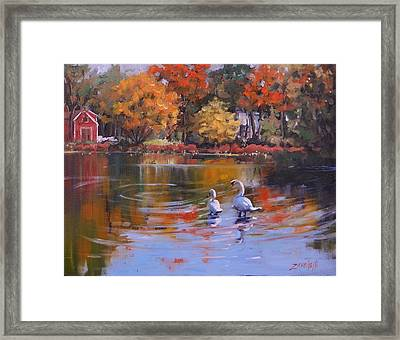 Memorial Pond Framed Print by Laura Lee Zanghetti