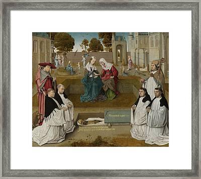 Memorial Tablet, Master Of The Spes Nostra Framed Print