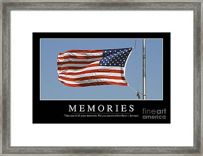 Memories Inspirational Quote Framed Print by Stocktrek Images