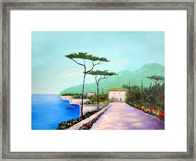 Memories  Of Lake Como Framed Print by Larry Cirigliano
