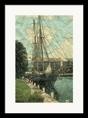 Boats At The Dock Mixed Media Framed Prints