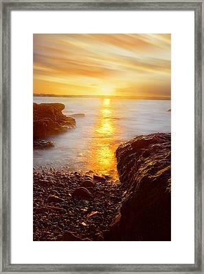 Memory Of Sunset - Rhode Island Sunset Beavertail State Park At Dusk  Framed Print by Lourry Legarde