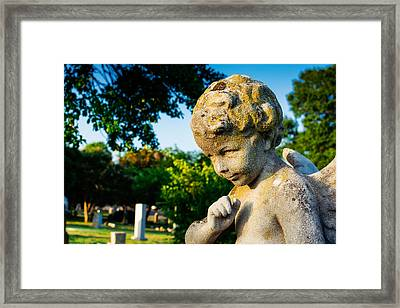Memphis Elmwood Cemetery - Boy Angel Framed Print by Jon Woodhams