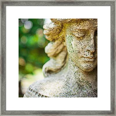 Memphis Elmwood Cemetery - Girl With Cross Square Framed Print by Jon Woodhams