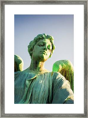 Memphis Elmwood Cemetery - Patinated Angel Framed Print by Jon Woodhams