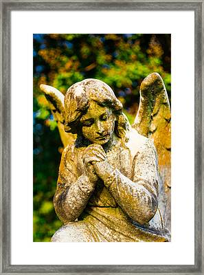 Memphis Elmwood Cemetery - Praying Angel Framed Print by Jon Woodhams