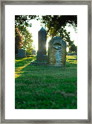 Memphis Elmwood Cemetery - Backlit Grave Stones Framed Print by Jon Woodhams