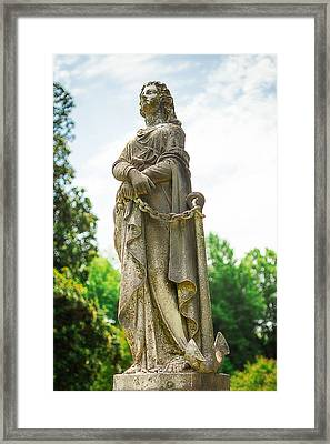 Memphis Elmwood Cemetery Monument - Woman With Chain Framed Print by Jon Woodhams