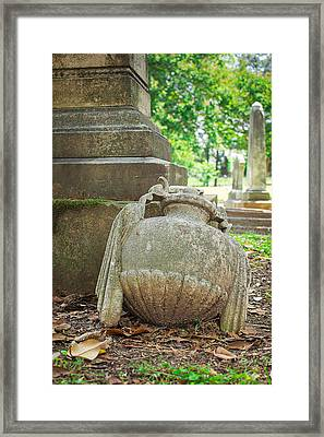 Memphis Elmwood Cemetery Monument - Fallen Framed Print by Jon Woodhams