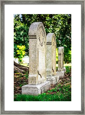 Memphis Elmwood Cemetery Monument - Four In A Row Framed Print by Jon Woodhams