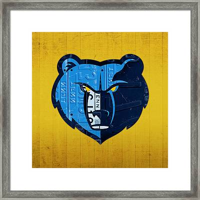 Memphis Grizzlies Basketball Team Retro Logo Vintage Recycled Tennessee License Plate Art Framed Print