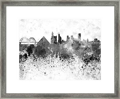 Memphis Skyline In Black Watercolor On White Background Framed Print by Pablo Romero