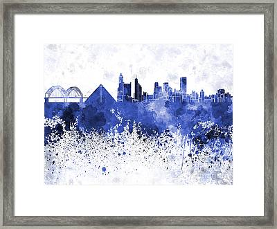 Memphis Skyline In Blue Watercolor On White Background Framed Print