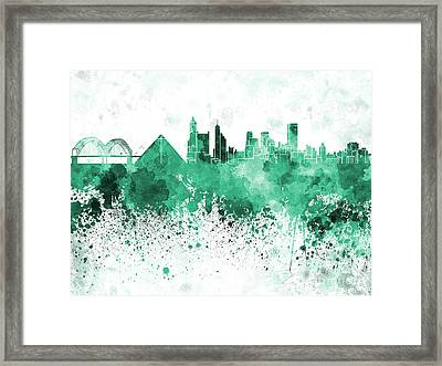 Memphis Skyline In Green  Watercolor On White Background Framed Print