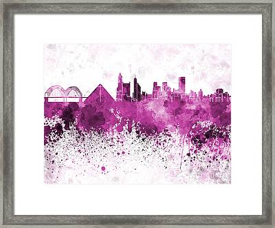 Memphis Skyline In Pink Watercolor On White Background Framed Print