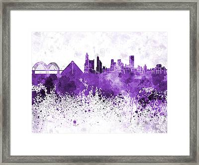 Memphis Skyline In Purple Watercolor On White Background Framed Print