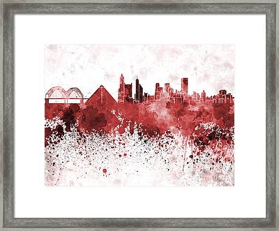 Memphis Skyline In Red Watercolor On White Background Framed Print