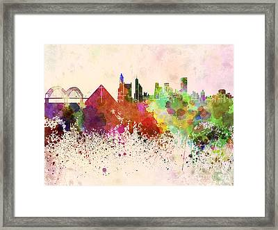 Memphis Skyline In Watercolor Background Framed Print by Pablo Romero