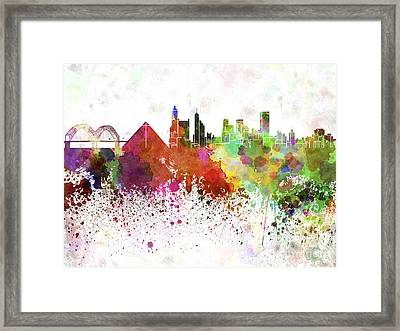 Memphis Skyline In Watercolor On White Background Framed Print