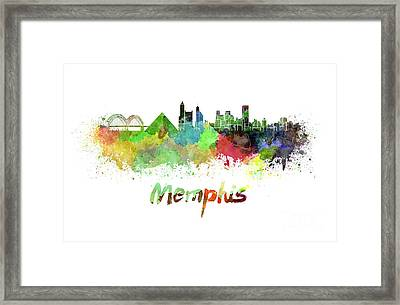 Memphis Skyline In Watercolor Framed Print by Pablo Romero