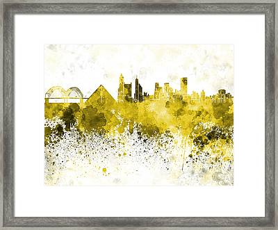 Memphis Skyline In Yellow Watercolor On White Background Framed Print