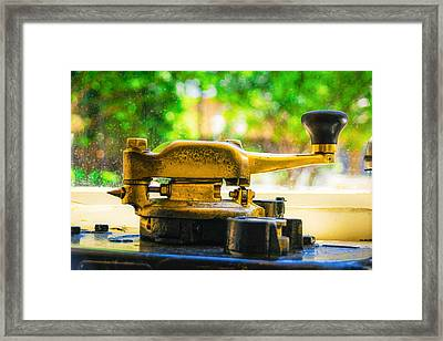 Memphis Trolley Detail - Brass Handle Framed Print by Jon Woodhams
