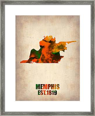 Memphis Watercolor Map Framed Print by Naxart Studio