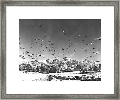 Men And Equipment Being Parachuted Framed Print by Stocktrek Images