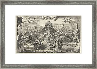 Men And Women Look In The Opened Tombs Of Historical Figures Framed Print