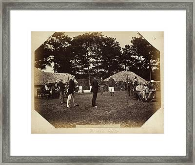 Men And Women Playing Badminton Framed Print