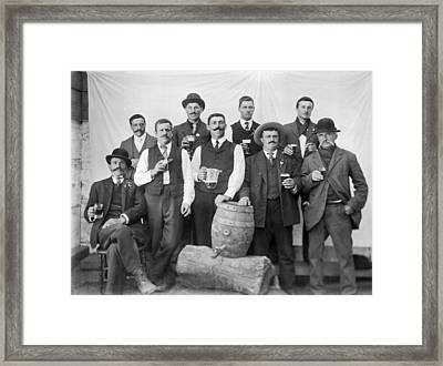 Men Around A Keg Of Beer Framed Print by Underwood Archives
