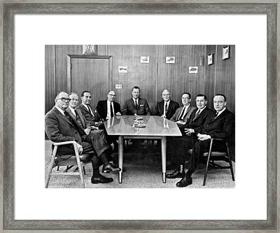 Men At A Business Meeting Framed Print by Underwood Archives