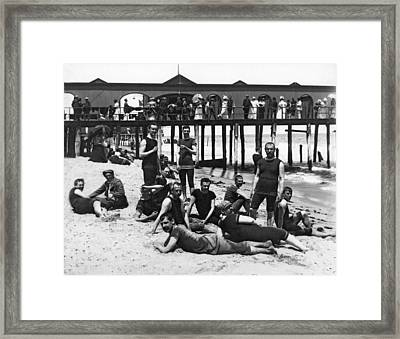 Men Bathers By The Boardwalk Framed Print