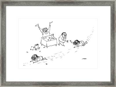Men Crawl Through The Desert Framed Print